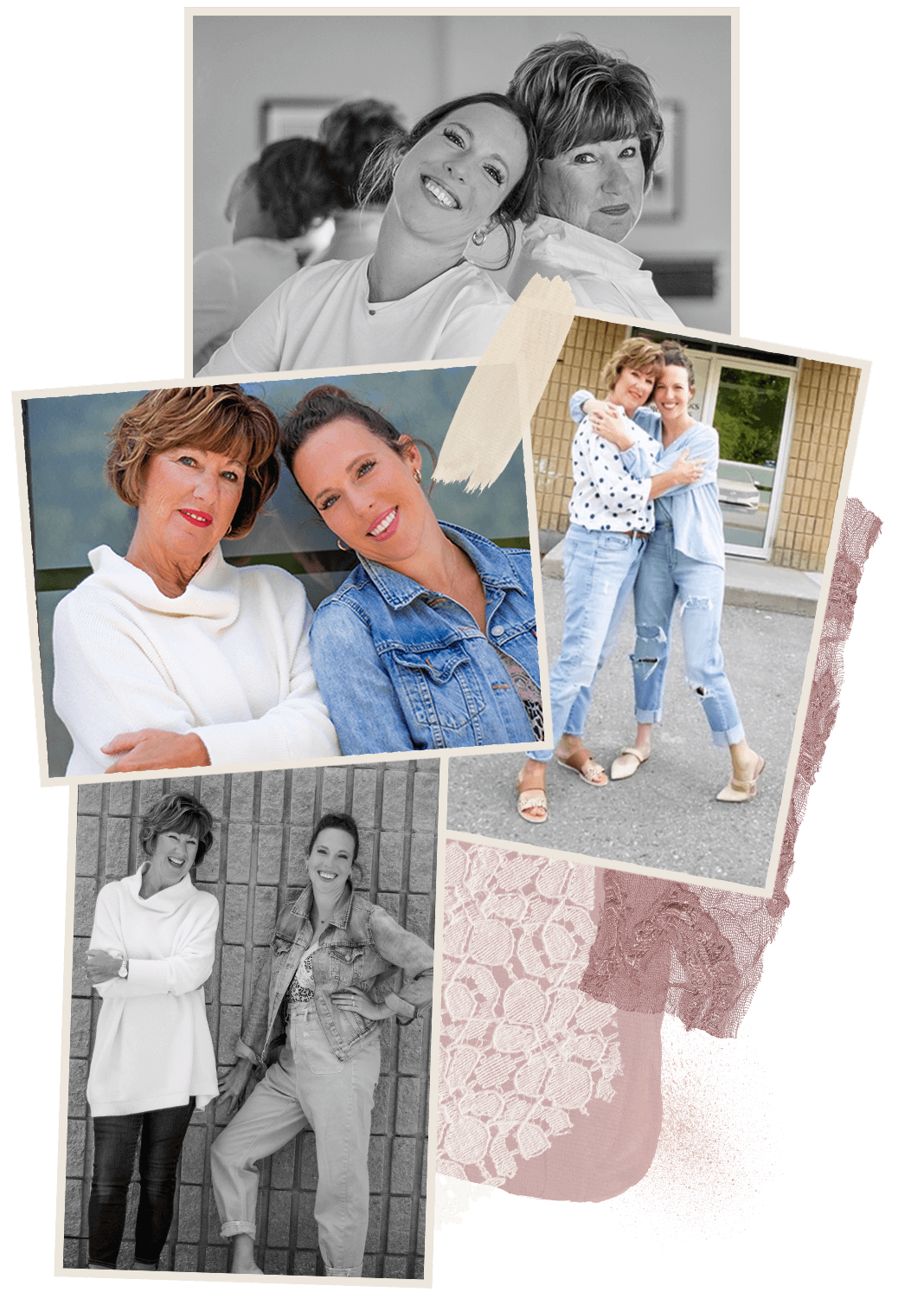 collage of images with mother daughter duo dance studio owners