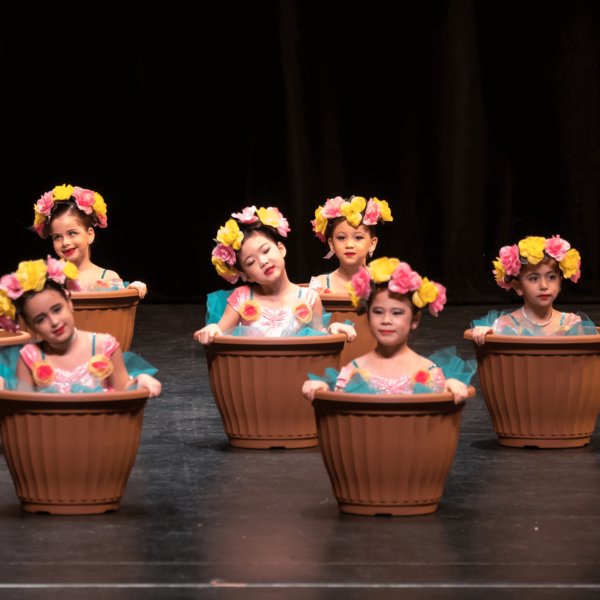kinder dance ballet children on stage at dance recital in flower costumes sitting in flower pots
