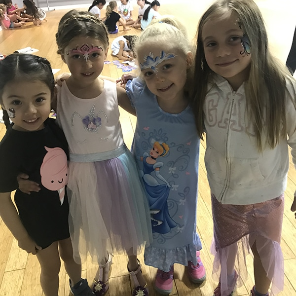 summer camp students with face painting at jcb danceworks in richmond hill