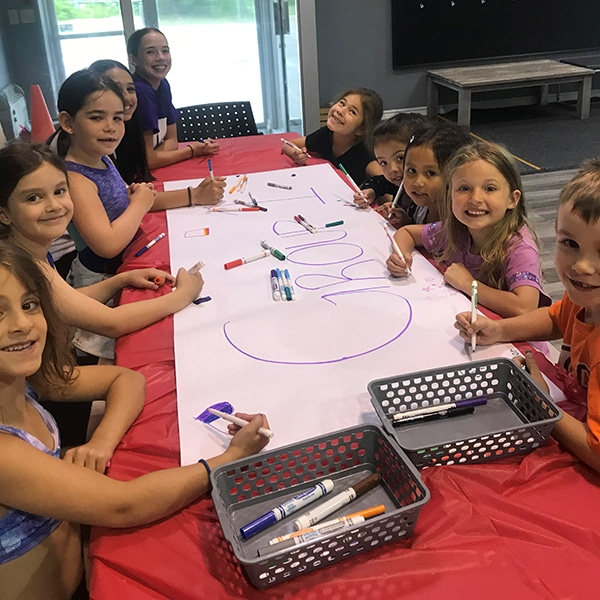 summer camp students doing art at jcb danceworks in vaughan