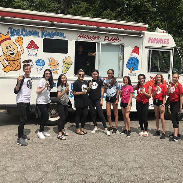 summer camp students eating ice cream at jcb danceworks in richmond hill